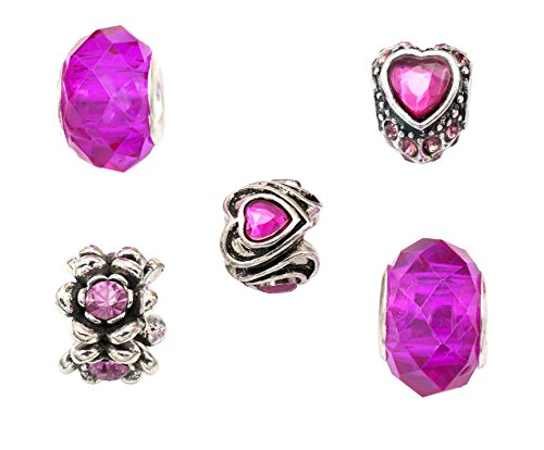 Pink und Silber, 5Stück, mit Geschenkbeutel, kompatibel mit Pandora/Troll/Chamilia Charm-Armbändern ()