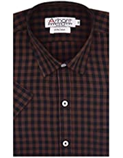 Arihant Men's Orange Checkered 100% Cotton Half Sleeve Regul