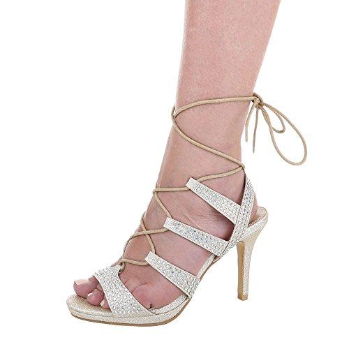High Heel Sandaletten Damen Schuhe Plateau Pfennig-/Stilettoabsatz Strass Besetzte Schnürsenkel Ital-Design Sandalen / Sandaletten Gold