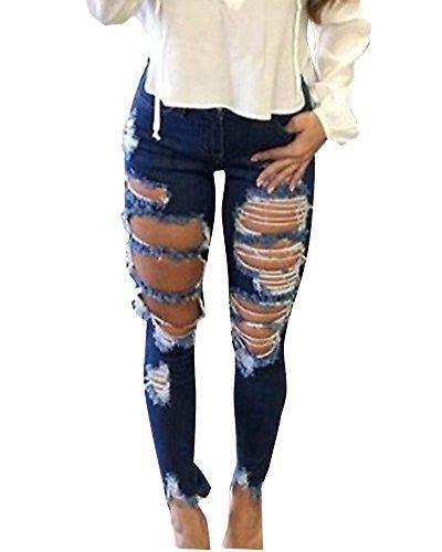Femmes Élégant Skinny Denim Jeans Déchirés Pantalon Stretch Slim Crayon Jeans Pants Comme image
