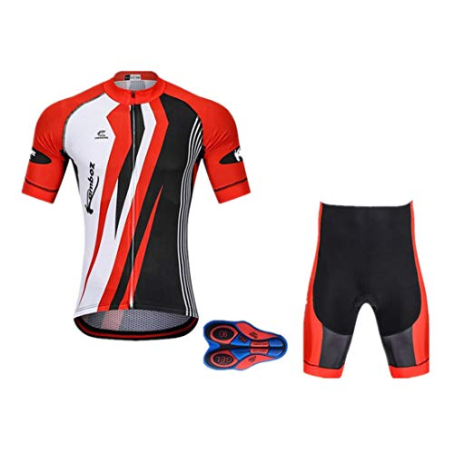 ot Atmungsaktive Fahrradbekleidung Set Trikot Kurzarm + Shorts mit Sitzpolster für Radsport Rot L ()