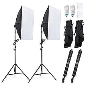 Amzdeal Softbox Kit d'Éclairage Studio Photo, 2 Softbox 50x70cm avec 2 Ampoules 1124W Lumière Continue 5500K Lampe Photographique Professionnelle Effets d'Éclairage Doux pour Portrait, Objet, Photo de Mode et à l'Enregistrement Vidéo