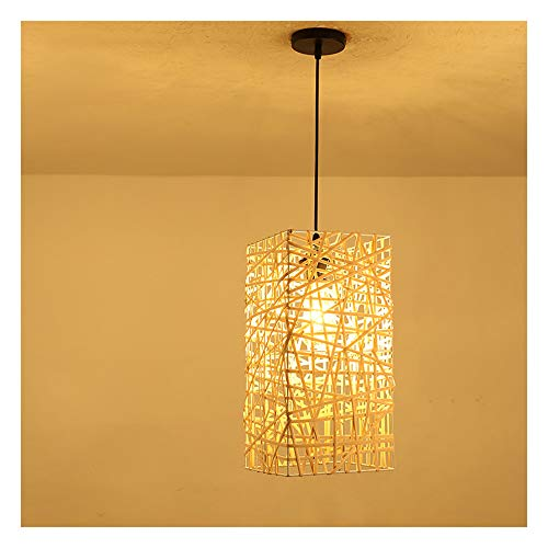 Retro Hand-Woven Rattan Weave Hanging Light Lampshade Bamboo Chandelier DIY Ceiling Lampe E27 Living Room Bedroom Aisle Lighting Cafe Restaurant Bar Pendant Light