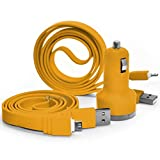 (Yellow) BLU Neo X Plus En coche de doble puerto USB de la bala de 2.1 amperios Cargador + 2x Micro USB cable de sincronización de datos ONX3