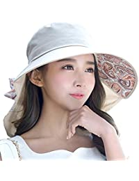6287bd067c8 Womens UPF 50 Cotton Sun Hats Packable Wide Brim Bucket Hat for Fishing  Hiking with Neck