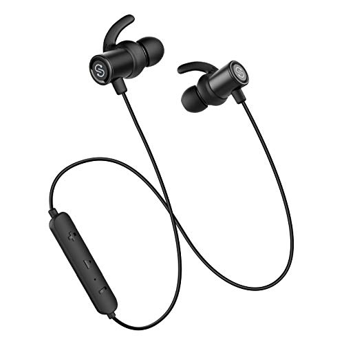 Cuffie bluetooth 4.1 sportive magnetiche ipx6, soundpeats auricolari wireless stereo antirumore cvc6.0 con microfono da corsa, 8 ore di riproduzione, compatibili iphone/samsung/tablet/dispositivi android/ios per vigggio, jogging, sport esterno-nero