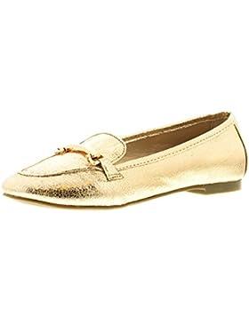NUEVO niña / Infantil Dorado Moderno Zapatos con barra de Oro - Dorado - GB Tallas 1-13