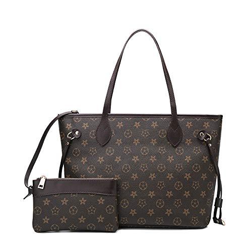 YZJLQML Damen Tasche DamenbekleidungEinfach große Kapazität Hit Farbe Würfel Mutter Tasche Klassische alte Blume Handtasche -Coffee