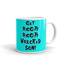 Get riggity riggity Wrecked hijo Rick y Morty inspirado taza de cerámica, de color blanco 11oz