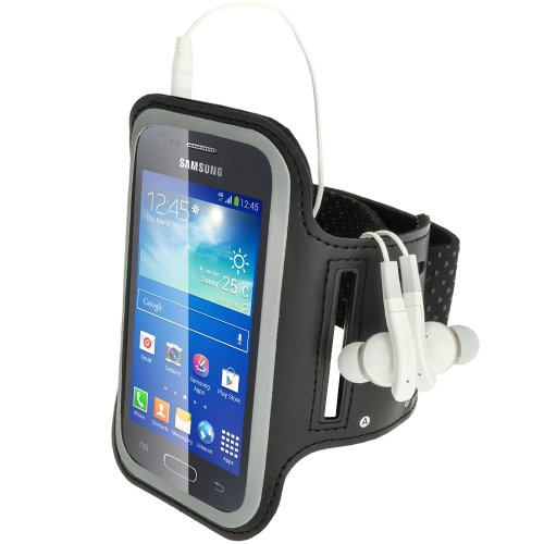 IGadgitz-Fascia da braccio per lo sport per Samsung Galaxy Ace, in neoprene, antiscivolo nero Nero Galaxy Ace 3 S7270