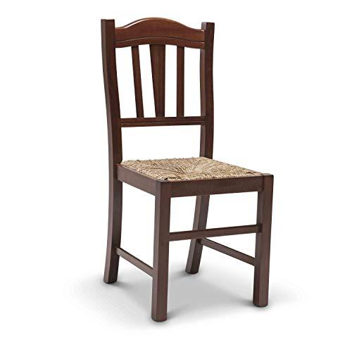 Arredinitaly set 2 sedie lia in legno massello di faggio tinto noce e seduta in vera paglia - prodotto di qualità, 100% made in italy