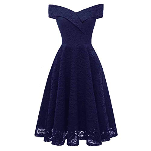 CHIYEEE Vestito Donna con Pizzo Senza Spalline Abito Donne Vestito Abito da  Sera Blu Marino L 7b642a75f78a