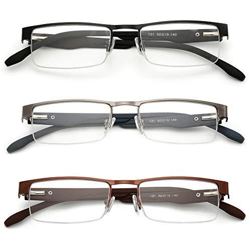 KOOSUFA Metall Lesebrillen Herren Damen Klassische Halbrandbrille Stärken Breit Lesebrille Qualität Schwarz Braun Grau (3 Stück set (1 x Schwarz+1 x Braun+1 x Grau), 2.0)