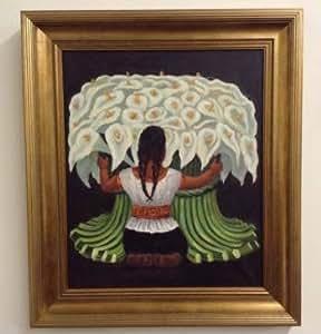 Rivera Diego la marchande de fleurs encadré Original peinture à l'huile