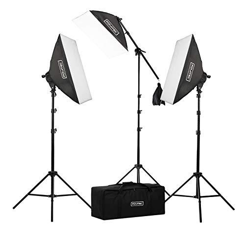 """Fovitec Kit d'éclairage de studio photo et vidéo avec boîte à lumière 20""""x28"""" 2500 Watts comprenant trois boîte à lumière Installation rapide, un bras télescopique avec trépied girafe et cas"""