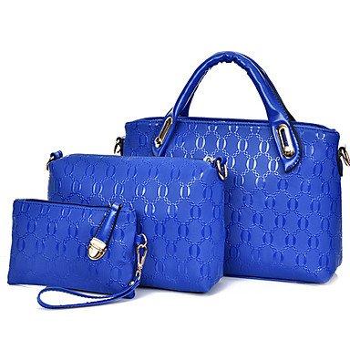 La donna pu canna borsa a tracolla / Tote - bianco / viola / blu / Oro / Rosso / Nero,Bianco Blue
