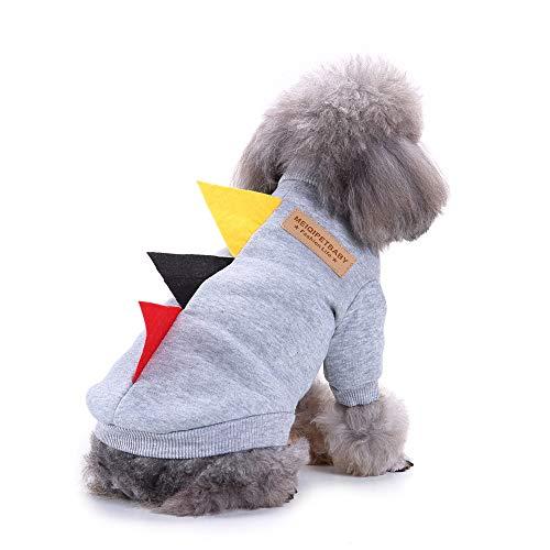 ELLANM Hundekleidung Herbstkleid Sweatshirt vierbeinigen Haustier Kleidung Herbst und Winter Sport Kostüme, grau Drei Rollen Pullover, ()
