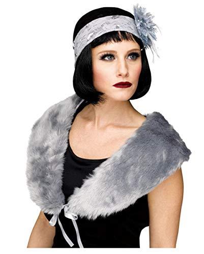 Horror-Shop Graue 20er Jahre Flapper Stola für Fasching (20er Gangster Jahre Kostüm Girl)