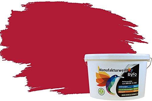 RyFo Colors Bunte Wandfarbe Manufakturweiß Weinrot 10l - weitere Rot Farbtöne und Größen erhältlich, Deckkraft Klasse 1, Nassabrieb Klasse 1