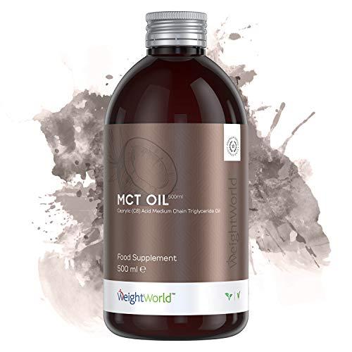 Huile de Coco MCT C8 - Huile Premium Goût Neutre - Idéal pour Régime Cétogène - Pure MCT Oil - Riche en Cétones - Brûleur de Graisses Naturel - Bouteille 500ml
