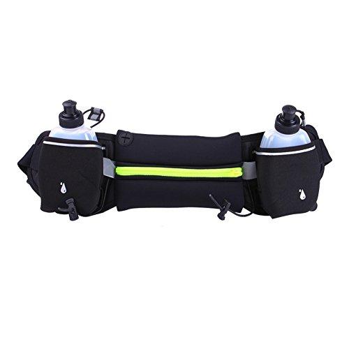 Sport marsupio/2Water Bottle Holder marsupio/iPhone 7Plus sport/grande capacità impermeabile cintura esterna con due tasche ultra-thick Lycra traspirante Green with Kettle