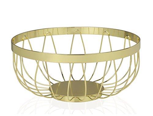 Preisvergleich Produktbild Andrea House – Obstkorb Metall gold ø8, 9 X 22, 8 cm (cc16018)