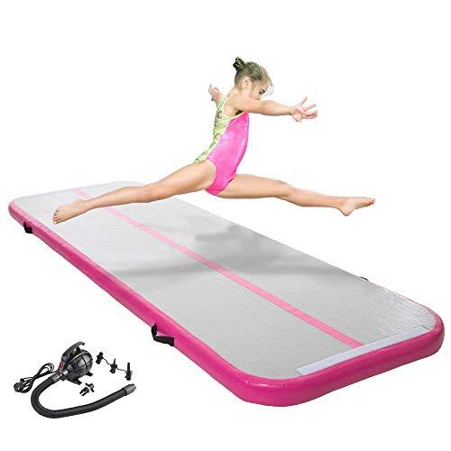 Große aufblasbare Airtrack Tumbling-Matte: Extra-dicke breite Gymnastikmatte für Gymnastik und Fitness-Sport - rutschfeste zusammenklappbare Turnmatte inklusive Luftpumpe und Tragetasche - 300x90x10cm -