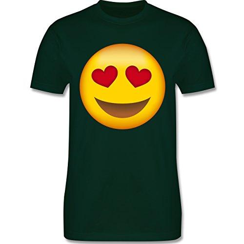 Comic Shirts - Verliebter Emoji - Herren Premium T-Shirt Dunkelgrün