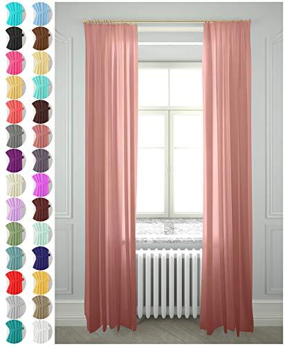Megachest Lucy Vorhang aus gewebtem Voile, 2 Paneele mit Bändern, 28 Farben, Dusty Rose, 56