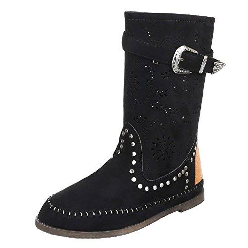 Damen Schuhe, F125, STIEFEL, PERFORIERTE, Synthetik in hochwertiger Wildlederoptik , Schwarz, Gr (Stiefel Indianer)