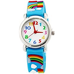 Happy Cherry - Reloj de Cuarzo Analógico Silicona Colorido de Pulsera para Niños Niñas Lindo Watch Estampado de Cartoon 3D - Arco iris - Azul
