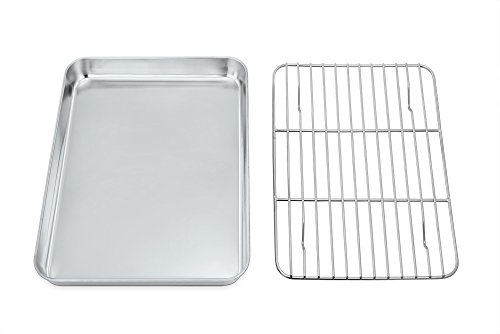 Mini Oven Tray with Rack Set, TeamFar Stainless Steel Small Baking Tray Pan with Cooling Rack, Healthy & Non Toxic, Mirror Polish & Easy Clean -Dishwasher Safe
