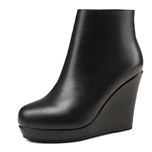 ANNIESHOE Leder Stiefeletten Damen Keilabsatz Ankle Boots Plateau Schwarz 39 CN 38 EU 24.5cm
