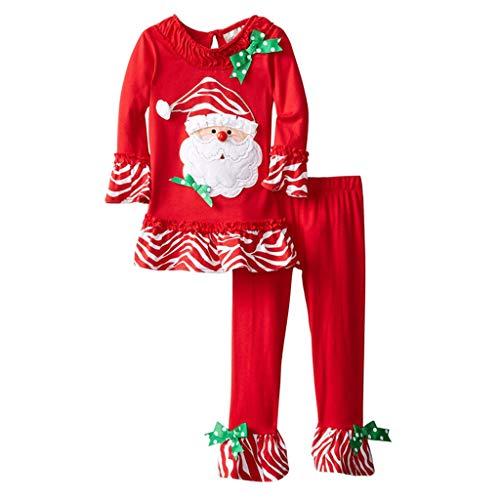 Zolimx 2 Pz Pigiama da Notte Set di Natale, Bambino Ragazzi Natale Pagliaccetto Neonato Elfo di Natale Costume