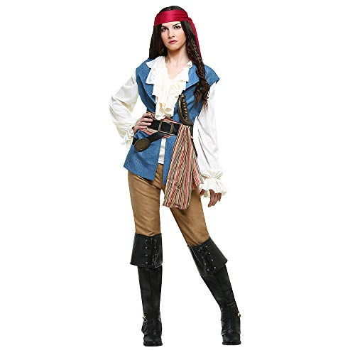 Halloween Pirates Cosplay Uniforme da Donna, Stage DS Costume, Coppie,XL