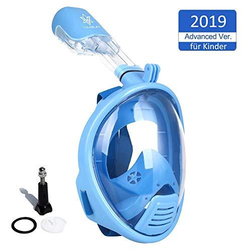 VILISUN Vollmaske Schnorchelmaske Tauchmaske Vollgesichtsmaske mit 180° Sichtfeld, Dichtung aus Silikon Anti-Fog und Anti-Leck Technologie für Alle Erwachsene und Kinder (Blau für Kinder, XS)