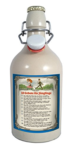 10 Gebote für Jünglinge 0,5 Liter Tonflasche Bier mit Bügelverschluss - 0,5 Liter Tonflasche mit Bügelverschluss