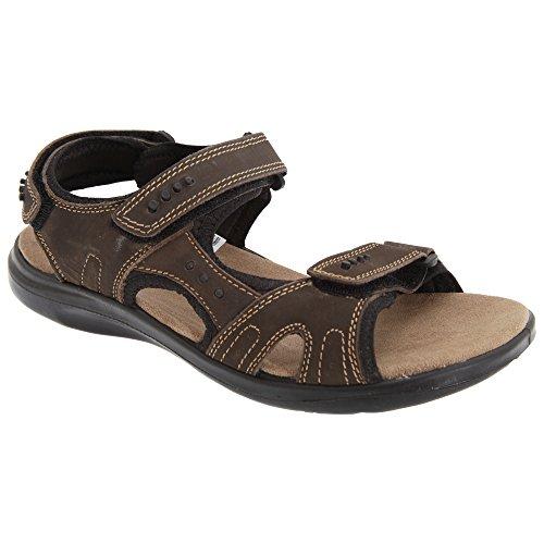Roamers - Sandales sport scratch en cuir - Homme Marron