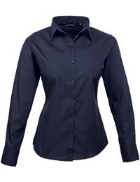 Premier Frauen/DamenPopeline Bluse / Schlichtes Arbeitshemd lang�rmelig (36)(Size:8) (Marineblau) DE 36,Marineblau