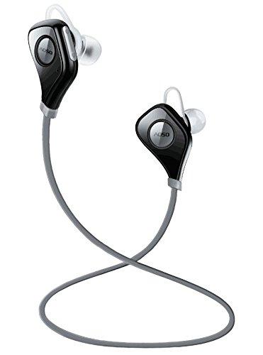 AOSO S5 Auricolari Wireless Bluetooth Headset Stereo Sportive a Prova di Sudore con Microfono e CVC6.0 Cancellazione del Rumore AptX Tecnologia per iPhone Samsung Huawei e altri Smartphone Tablet (grigio)