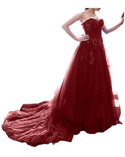 Missdressy Romantisch Satin Lang Tuell Spitze Herzform Schleppe Partykleid Ballkleid Festkleid Promkleid Red
