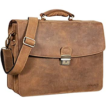 a0258fed13 STILORD 'Loris' Serviette Homme Cuir Véritable XL Cartable avec Boucle Sac  d'affaires Sac de Bureau Vintage Porte-Documents, Couleur:Used Look - Marron