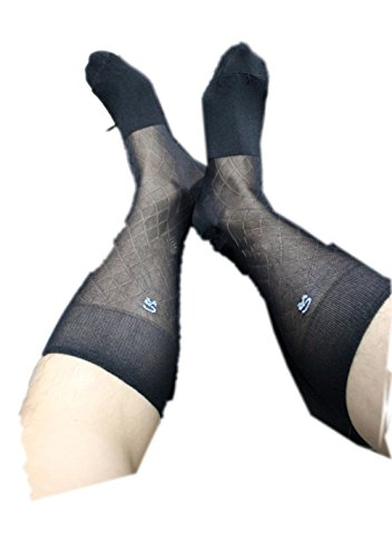 Magic Show Herren Diamond Black Stretch Muster Cotton Über das Kalb Kleid-Socken - Kalb-socken Das über Männer-schwarz Für