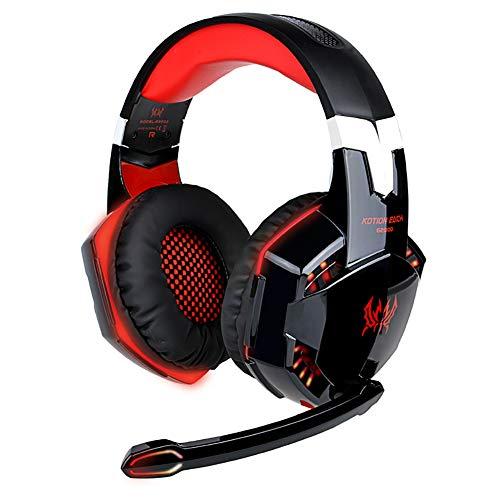 G0O03q3e Bluetooth-Kopfhörer, kabellos, G2000 Stereo-Gaming-Headset, LED-Leuchten, Kopfhörer für PC rot Sony Wireless-hi-fi
