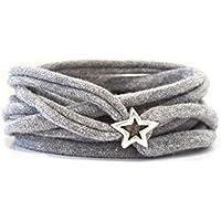 Armband Wickelarmband aus Stoff weich hellgrau oder in Wunschfarbe mit versilbertem Stern aus Metall individuelle Geschenke Weihnachten