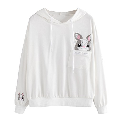 Bonjouree Sweat Capuche Femme Pull Sweatshirt Ado Fille Imprimé Chat/Panda/Lapin Blanc A
