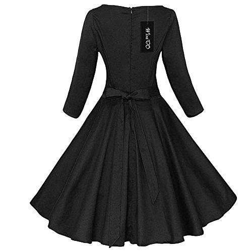 WintCO Damen Klassische Rockabilly Audrey Hepburn 50s 60s Faltenrock Abendkleid Tailleneng Retro Kleid Schwarz