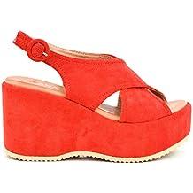892b6e146b49e Zapatos Sandalias con cuña tacón Plataforma Alta con Tiras Anchas Cruzadas  de Ante Antelina