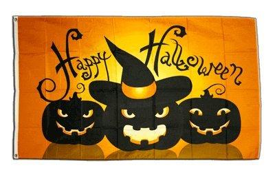 Fahne / Flagge Happy Halloween Kürbis + gratis Sticker, Flaggenfritze®