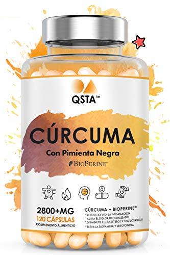 Curcuma en capsulas con pimienta + BioPerine   Cúrcuma Alta Potencia 2800MG 120 capsulas   Turmeric Curcumina + Piperine Pimienta Negra   Antiinflamatorio & Antioxidante Natural   2800MG +MEDICOS